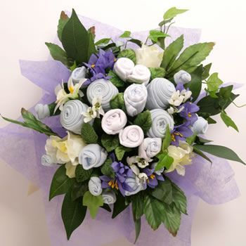 Large Baby Boy Clothes Bouquet with Chocolates and Flowers in Presentation Box