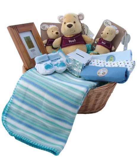 New Baby Boy Gift Baskets Uk : Winnie the pooh new baby gift baskets uk rock a bye